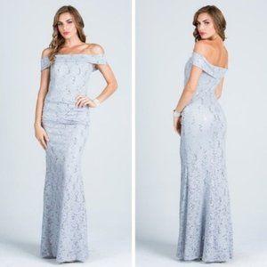 La Scala Dresses - Off Shoulder Sequin lace Bodycon Gown